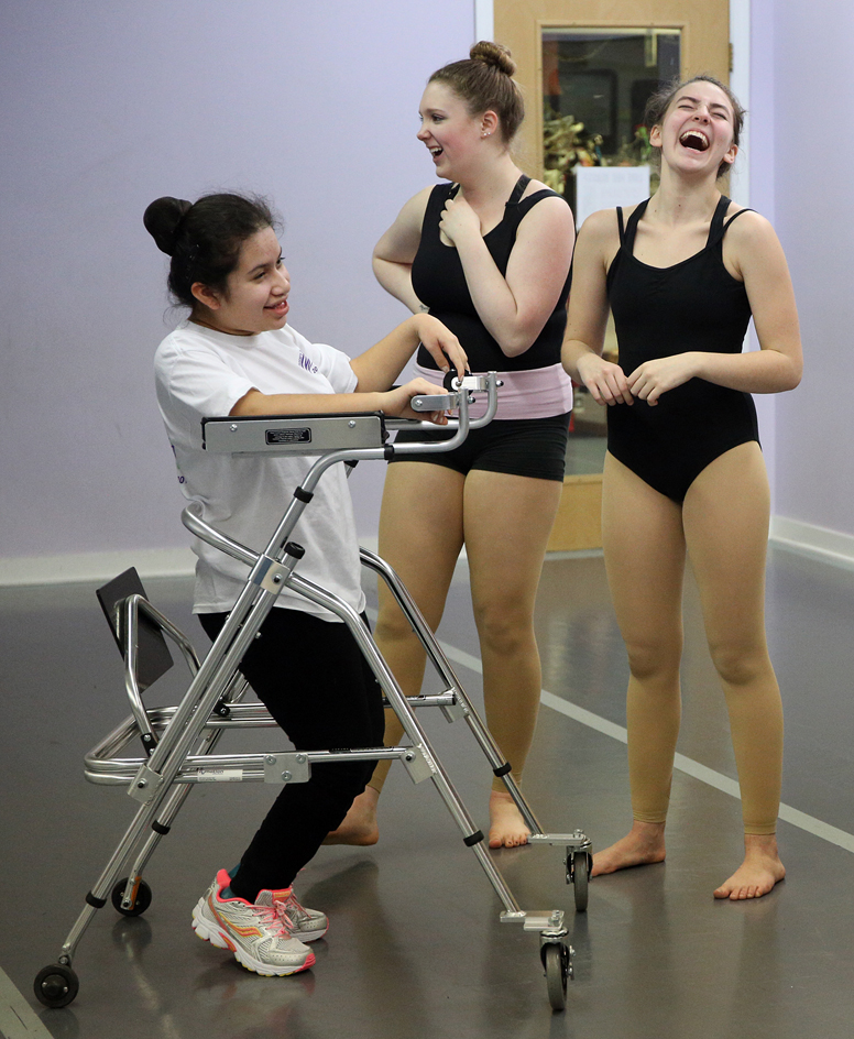 Meg Worrick, left, shares a laugh with fellow dancers Bobbi Dynice and Abby Wheeler during a rehearsal at A Dancer's Dream Tuesday, Jan. 12, 2016. Wicked Local Staff Photo / Kirk R. Williamson